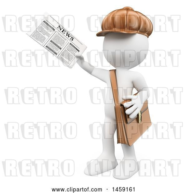 Clip Art of Retro Cartoon 3d White Guy Newsie, on a White Background