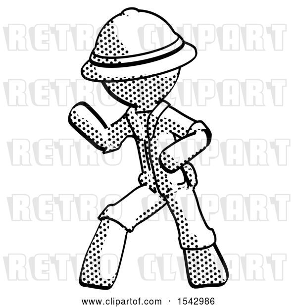 Clip Art of Retro Cartoon Explorer Guy Martial Arts Defense Pose Left