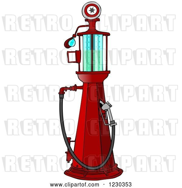 Clip Art of Retro Cartoon Red Old Fashioned Gas Pump