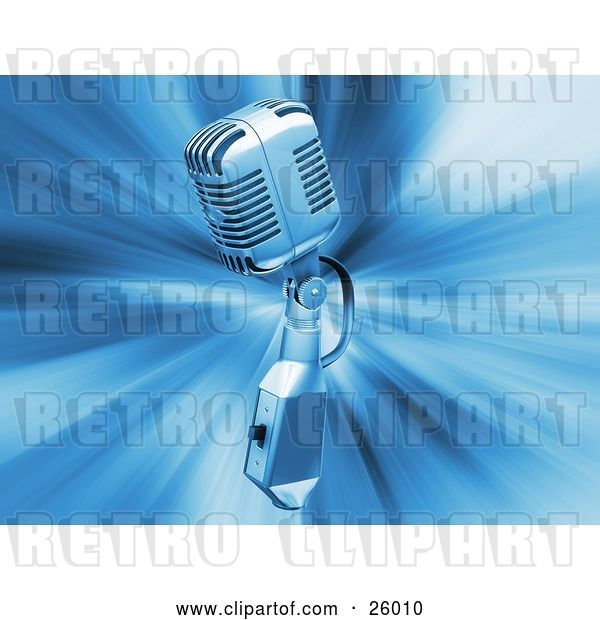 Clip Art of Retro Chrome Microphone over a Blue Bursting Background