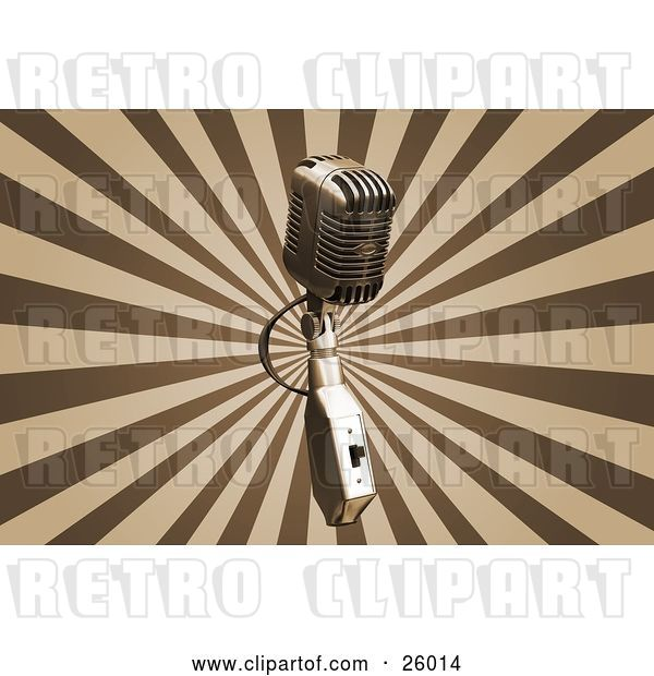 Clip Art of Retro Chrome Microphone over a Bursting Brown and Tan Background
