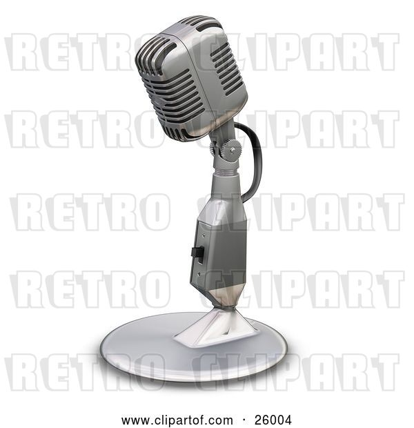 Clip Art of Retro Chrome Microphone with a Little Table Top Stand, on a White Background