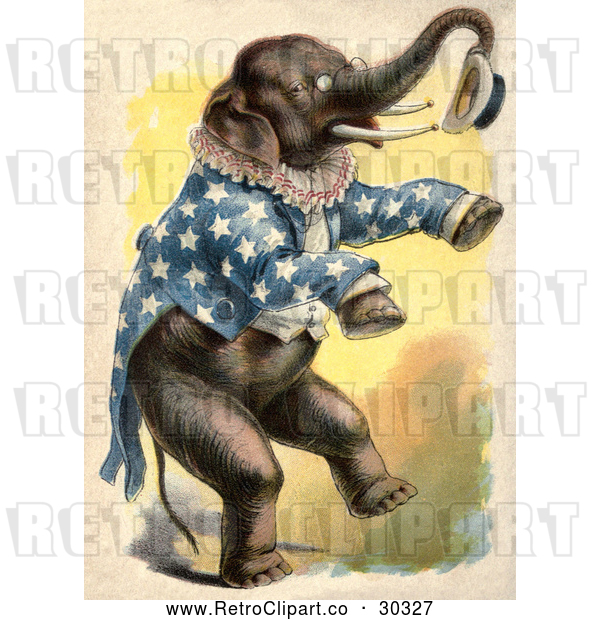 Clip Art of Retro Circus Elephant Standing up and Holding a Hat