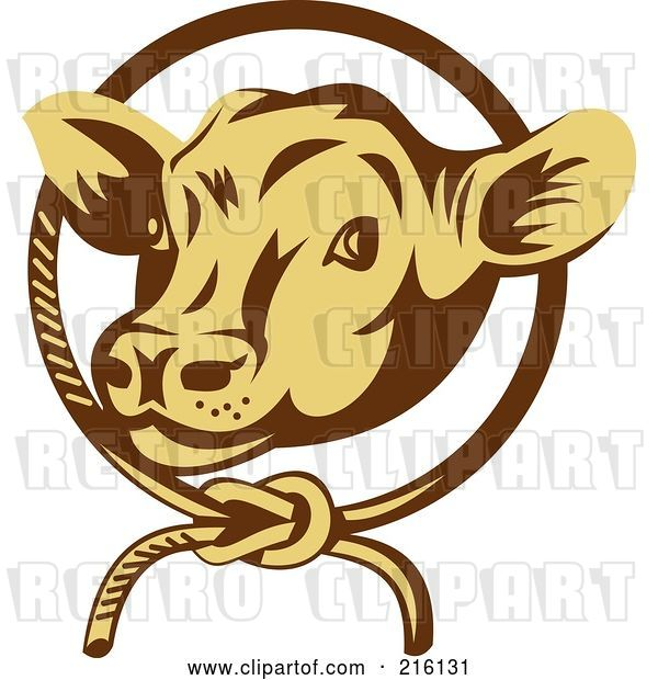Clip Art of Retro Cow Face in a Rope Circle