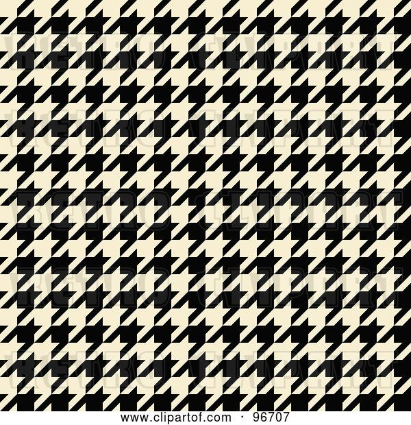 Clip Art of Retro Cream and Black Tight Seamless Houndstooth Pattern Background