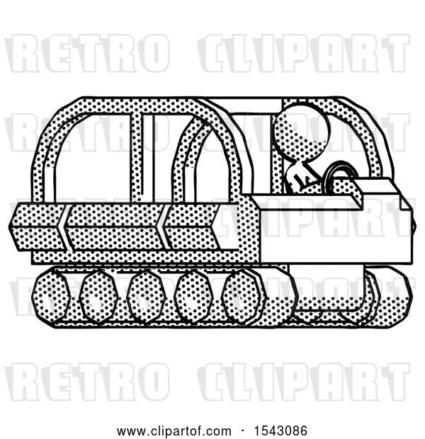 Clip Art of Retro Design Mascot Lady Driving Amphibious Tracked Vehicle Side Angle View