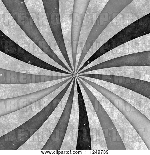 Clip Art of Retro Distressted Spiraling Grayscale Ray Background