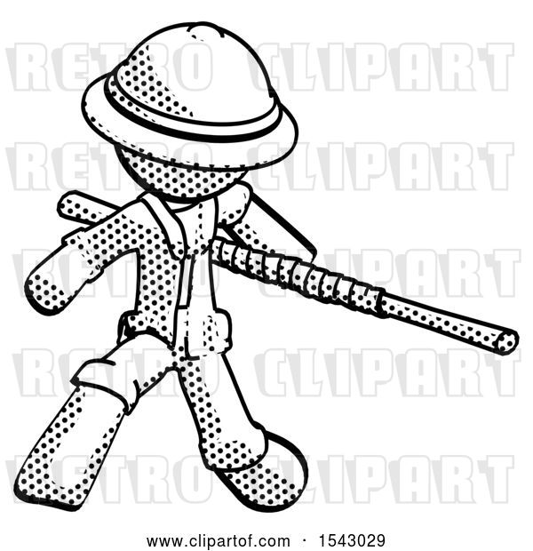 Clip Art of Retro Explorer Guy Bo Staff Action Hero Kung Fu Pose