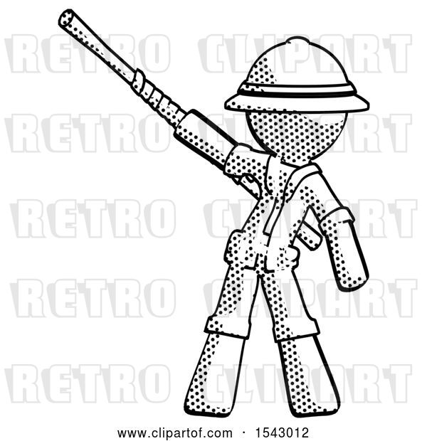 Clip Art of Retro Explorer Guy Bo Staff Pointing up Pose