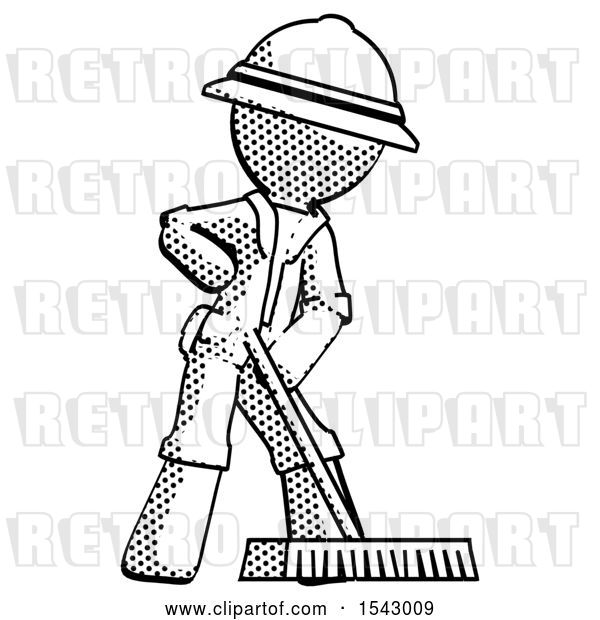 Clip Art of Retro Explorer Guy Cleaning Services Janitor Sweeping Floor with Push Broom