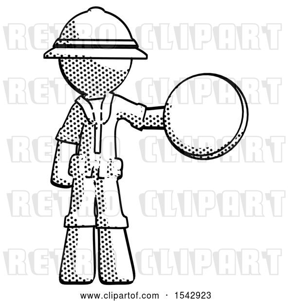 Clip Art of Retro Explorer Guy Holding a Large Compass