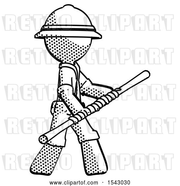 Clip Art of Retro Explorer Guy Holding Bo Staff in Sideways Defense Pose