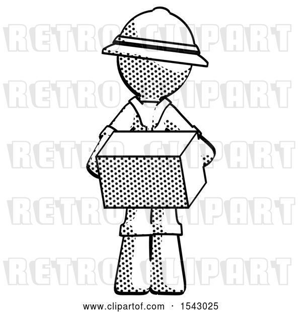 Clip Art of Retro Explorer Guy Holding Box Sent or Arriving in Mail