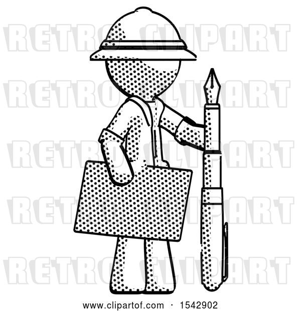 Clip Art of Retro Explorer Guy Holding Large Envelope and Calligraphy Pen