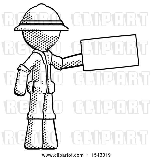 Clip Art of Retro Explorer Guy Holding Large Envelope