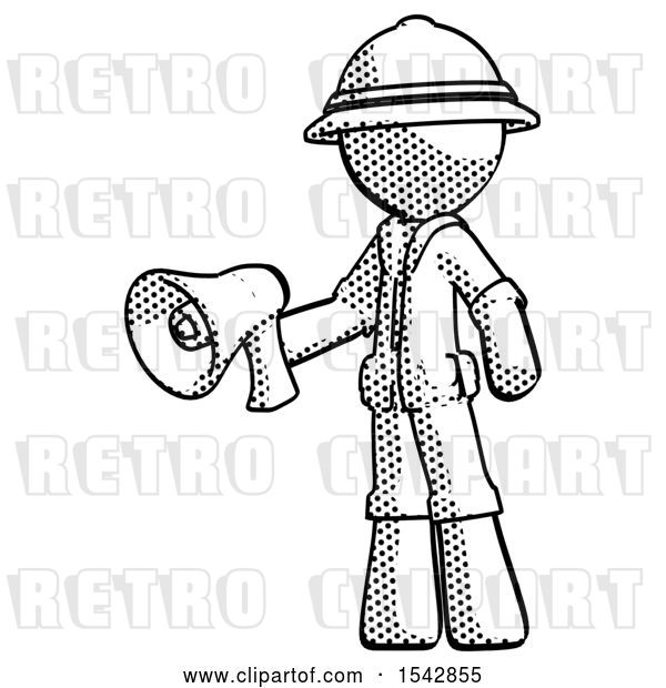 Clip Art of Retro Explorer Guy Holding Megaphone Bullhorn Facing Right