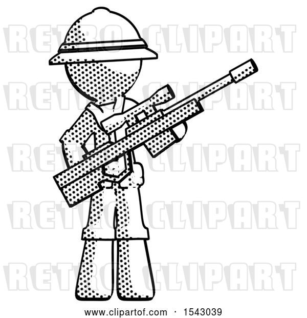 Clip Art of Retro Explorer Guy Holding Sniper Rifle Gun