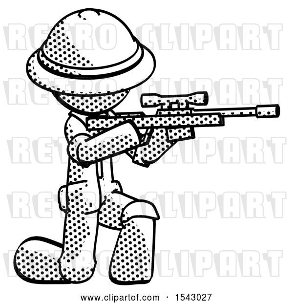 Clip Art of Retro Explorer Guy Kneeling Shooting Sniper Rifle