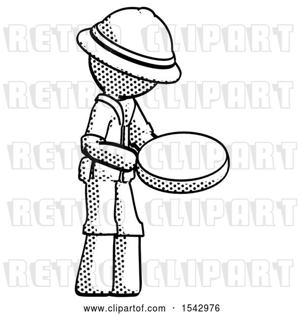 Clip Art of Retro Explorer Guy Looking at Large Compass Facing Right