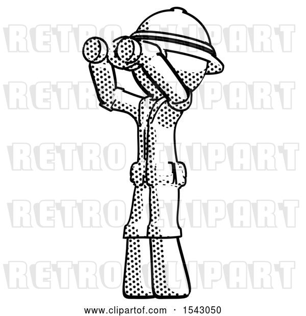 Clip Art of Retro Explorer Guy Looking Through Binoculars to the Left