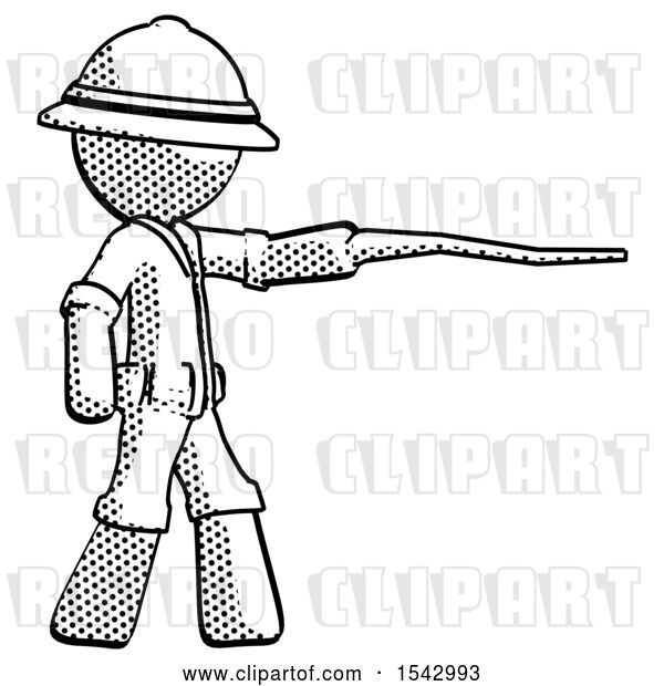 Clip Art of Retro Explorer Guy Pointing with Hiking Stick