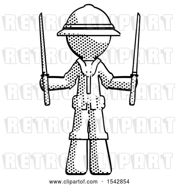 Clip Art of Retro Explorer Guy Posing with Two Ninja Sword Katanas up