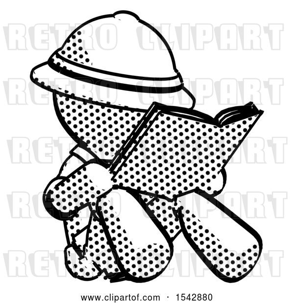 Clip Art of Retro Explorer Guy Reading Book While Sitting down