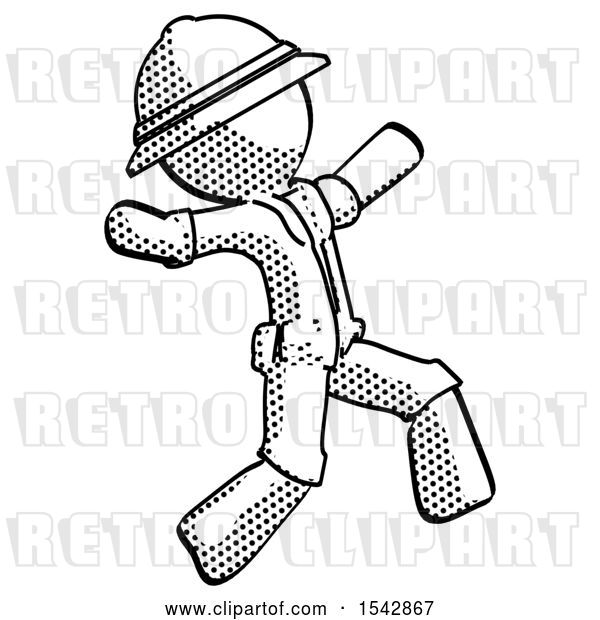 Clip Art of Retro Explorer Guy Running Away in Hysterical Panic Direction Right