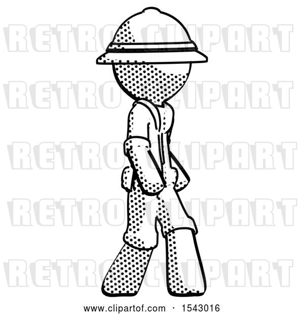 Clip Art of Retro Explorer Guy Walking Turned Right Front View