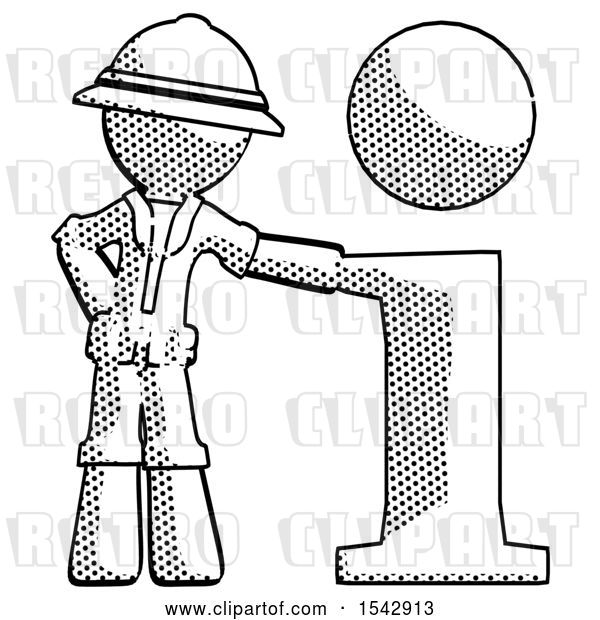 Clip Art of Retro Explorer Guy with Info Symbol Leaning up Against It
