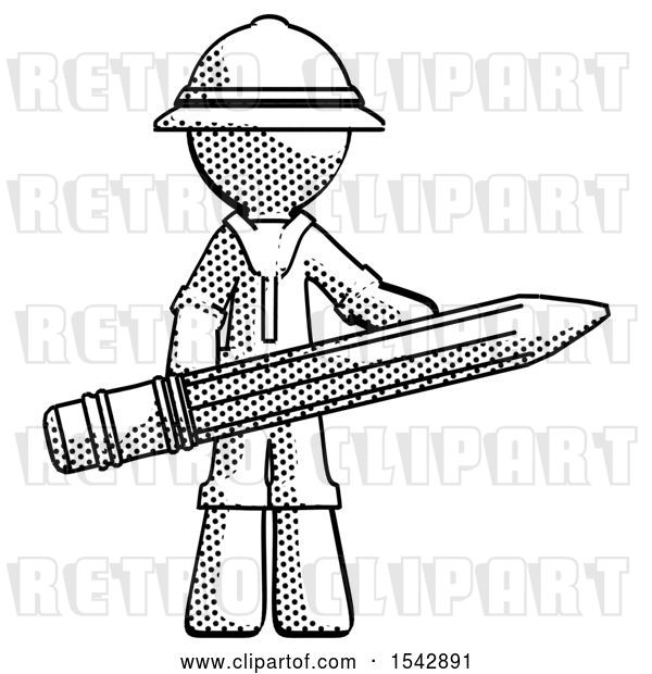 Clip Art of Retro Explorer Guy Writer or Blogger Holding Large Pencil