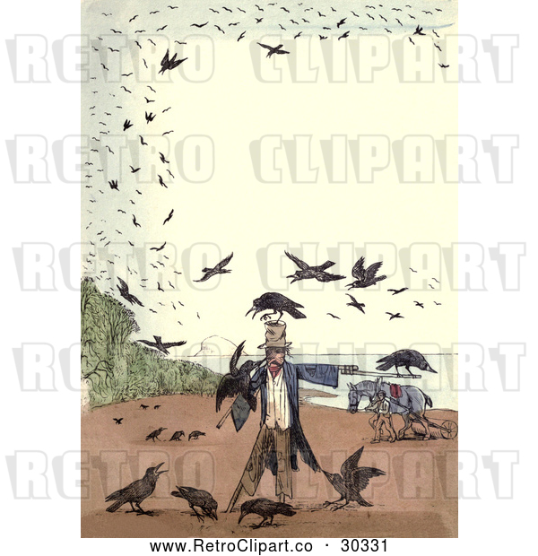 Clip Art of Retro Frame of Crows Around a Scarecrow