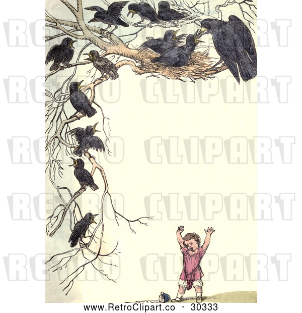 Clip Art of Retro Frame of Nesting Crows over a Girl
