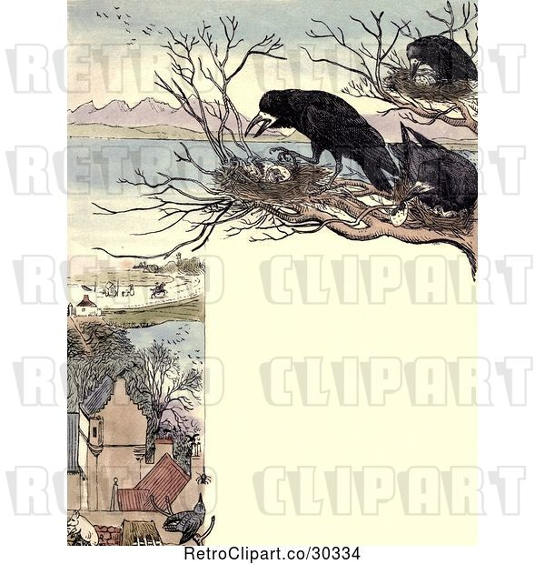 Clip Art of Retro Frame of Nesting Crows over a Village