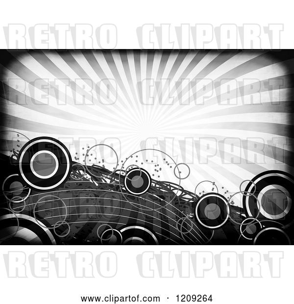 Clip Art of Retro Funky Grayscale Background of Rays and Circles