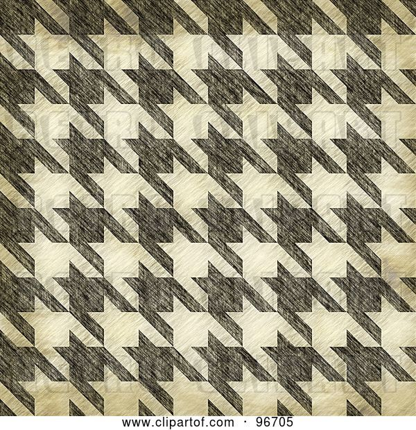 Clip Art of Retro Grungy Textured Seamless Houndstooth Patterned Background