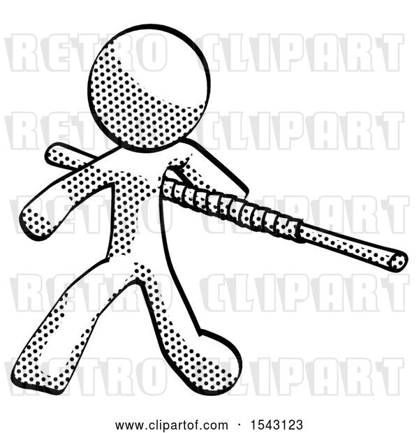 Clip Art of Retro Guy Bo Staff Action Hero Kung Fu Pose
