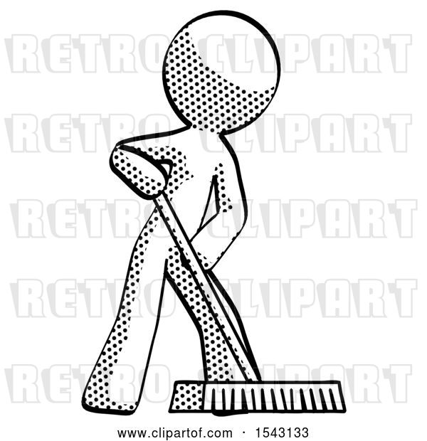 clip art of retro guy cleaning services janitor sweeping floor with push broom by leo blanchette 49709 retro clipart