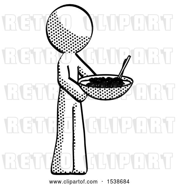 Clip Art of Retro Guy Holding Noodles Offering to Viewer
