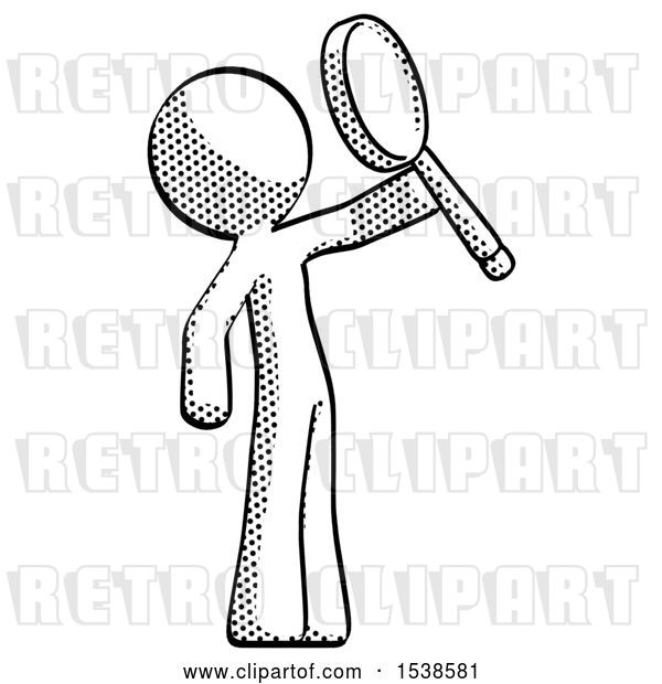 Clip Art of Retro Guy Inspecting with Large Magnifying Glass Facing up