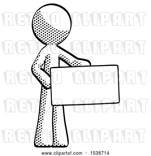 Clip Art of Retro Guy Presenting Large Envelope