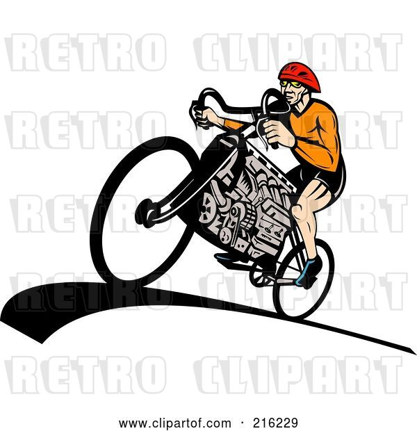 Clip Art of Retro Guy Riding a V8 Engine Bicycle