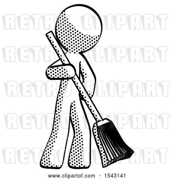 Clip Art of Retro Guy Sweeping Area with Broom