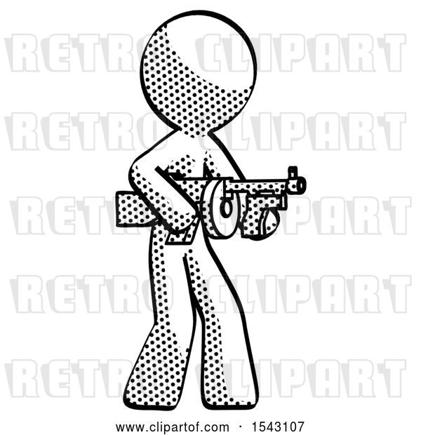 Clip Art of Retro Guy Tommy Gun Gangster Shooting Pose