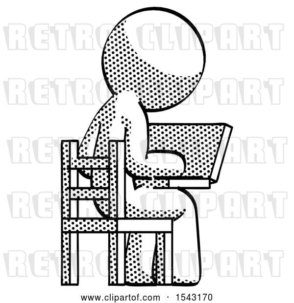 Clip Art of Retro Guy Using Laptop Computer While Sitting in Chair View from Back