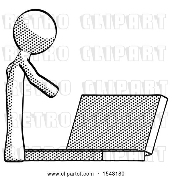 Clip Art of Retro Guy Using Large Laptop Computer Side Orthographic View