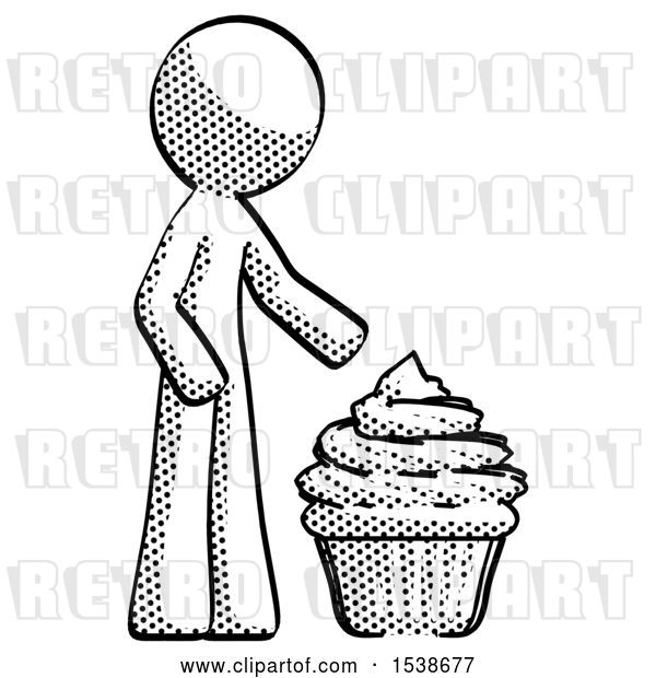 Clip Art of Retro Guy with Giant Cupcake Dessert