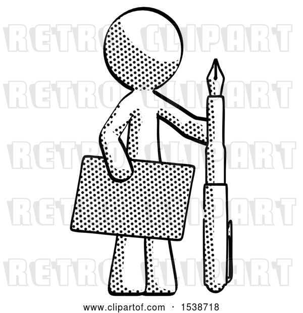 Clip Art of Retro Halftone Design Mascot Guy Holding Large Envelope and Calligraphy Pen