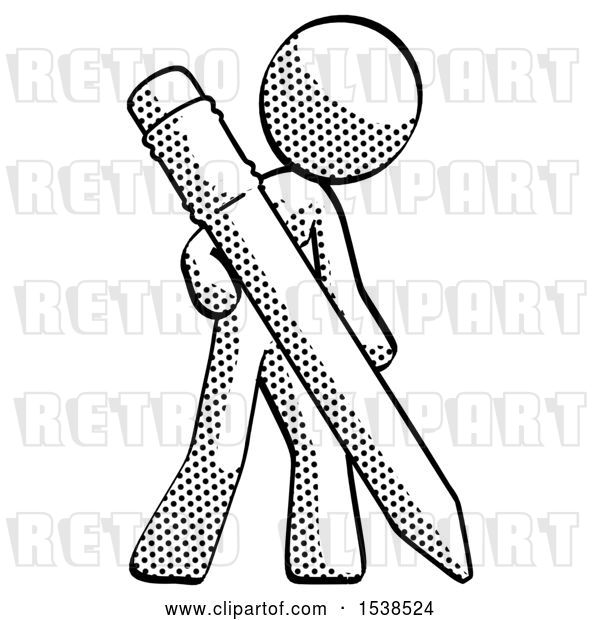 Clip Art of Retro Halftone Design Mascot Lady Drawing with Large Pencil