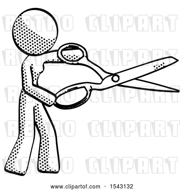 Clip Art of Retro Halftone Design Mascot Lady Holding Giant Scissors Cutting out Something